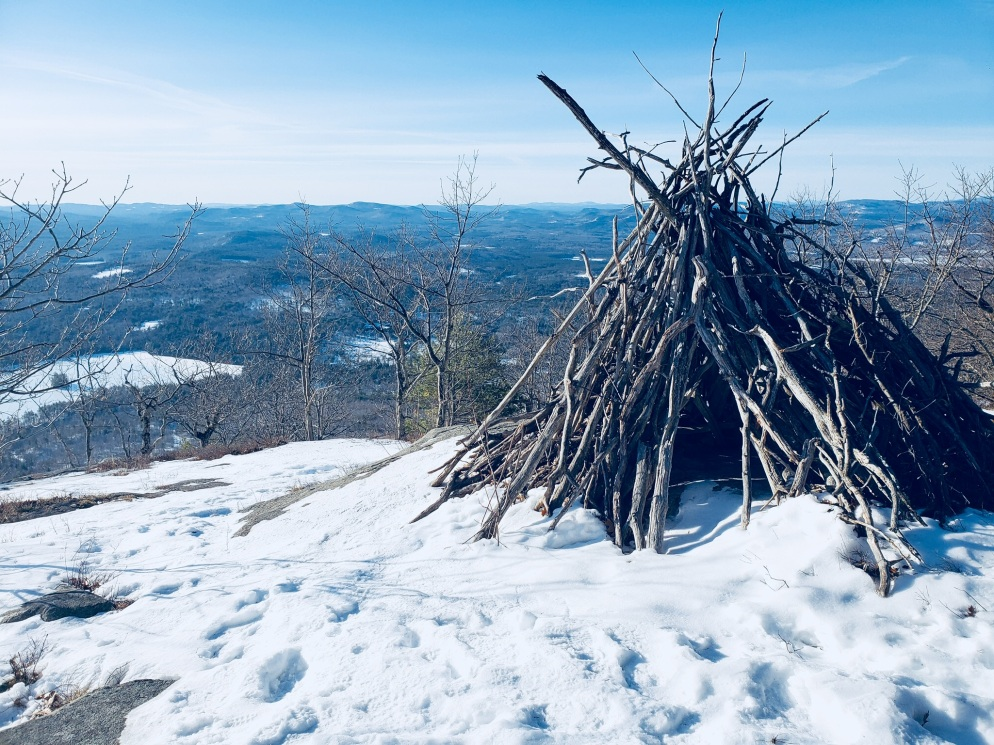 Wood teepee near Southwest Summit, Pleasant Mountain