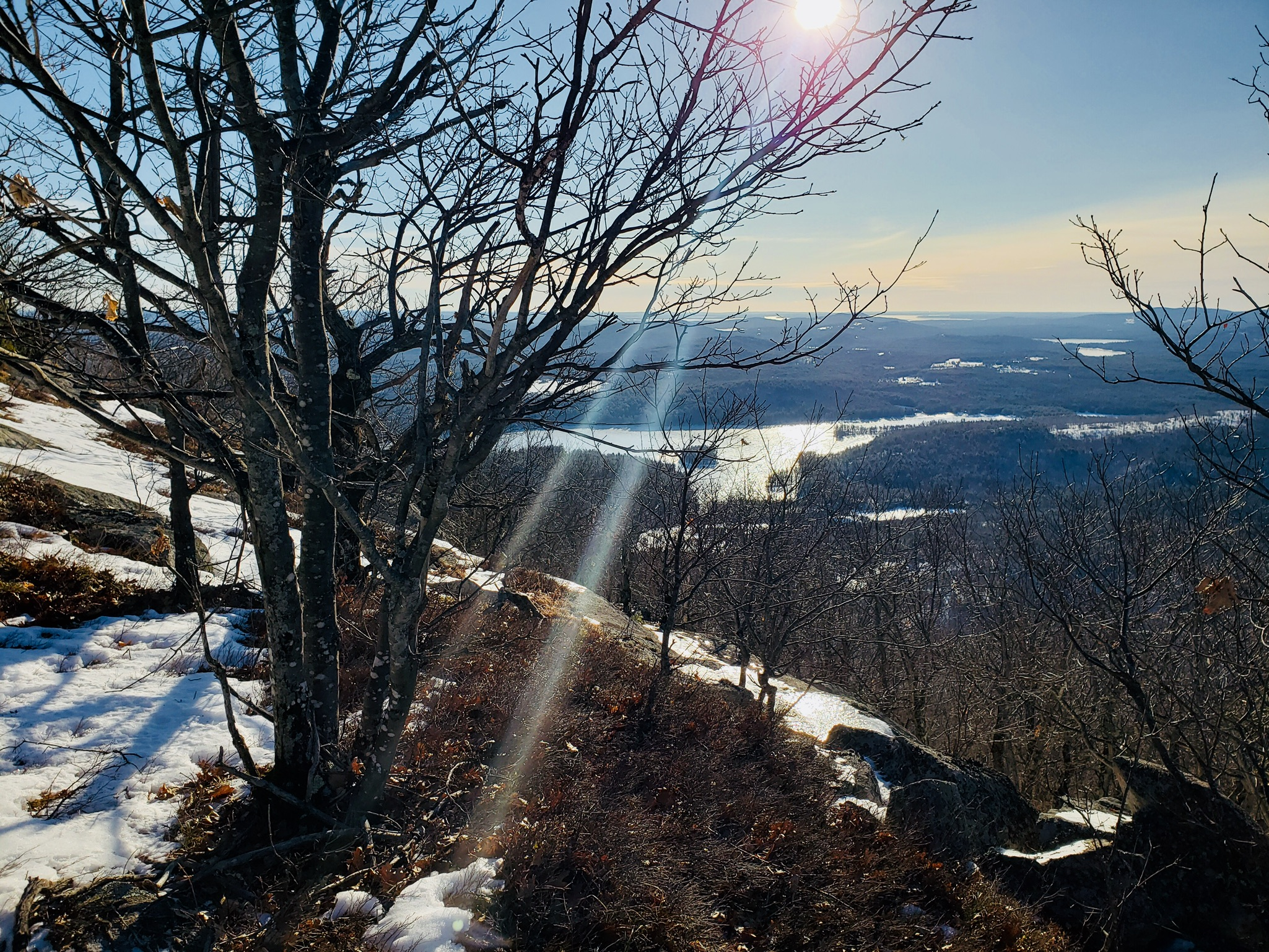 Winter morning view of Moose Pond from near Southwest Summit, Pleasant Mountain