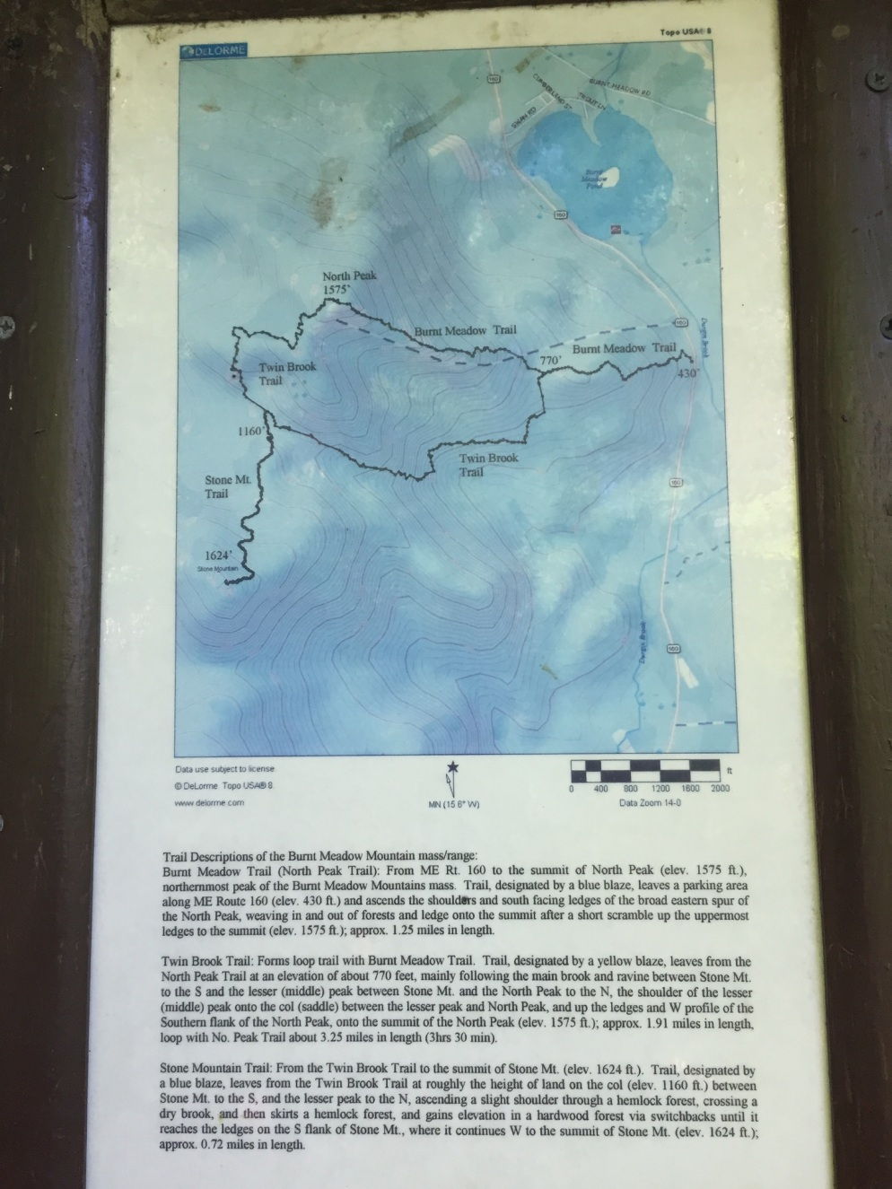 Map and trail description from trailhead kiosk along Rte 160 in Brownfield