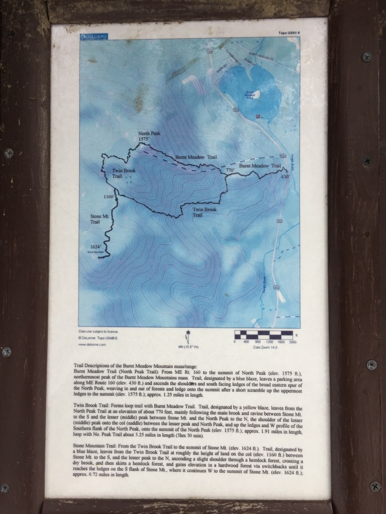 Burnt Meadow Mountain map and trail description from trailhead kiosk along Rte 160 in Brownfield.