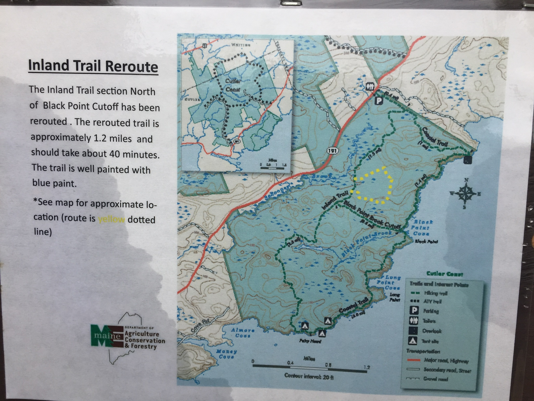Inland Trail Reroute (note 1.2 mile change in yellow), Cutler Coast Public Lands