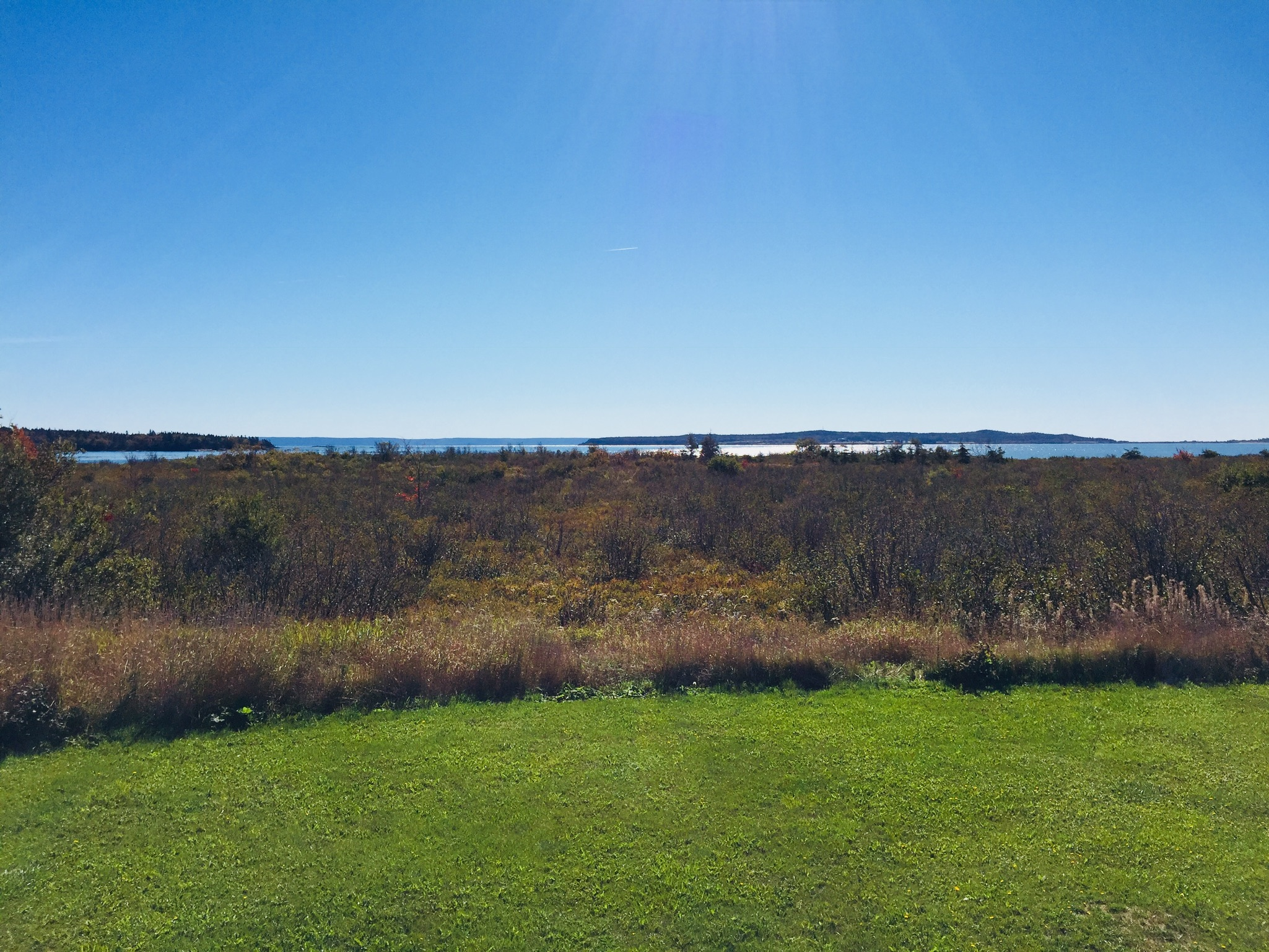 Mowry Beach conservation area from the playground of Lubec Consolidated School