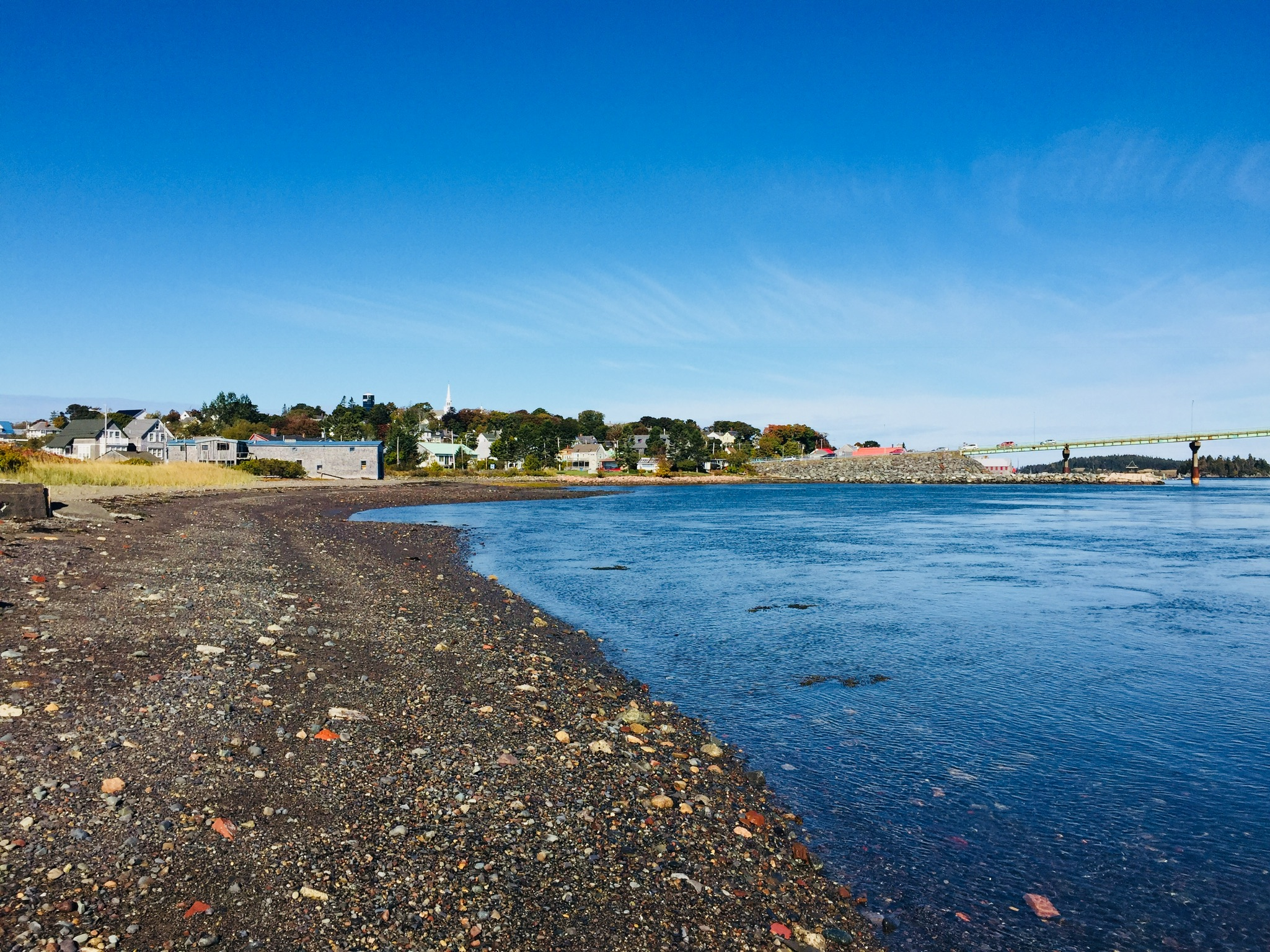 View of downtown Lubec and the international bridge to Campobello from Mowry Beach