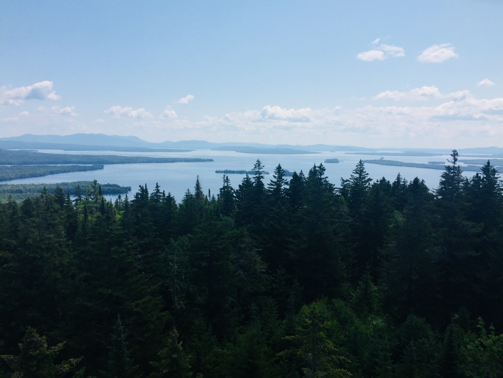 View from summit fire tower, Mt. Kineo