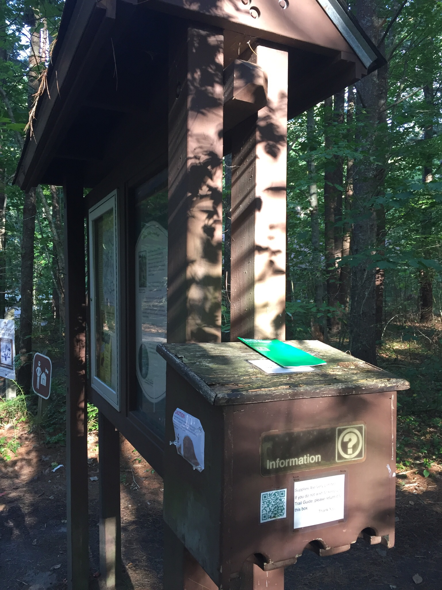 Trail kiosk with guide/map, Carson Trail, Rachel Carson National Wildlife Refuge, in Wells, ME.