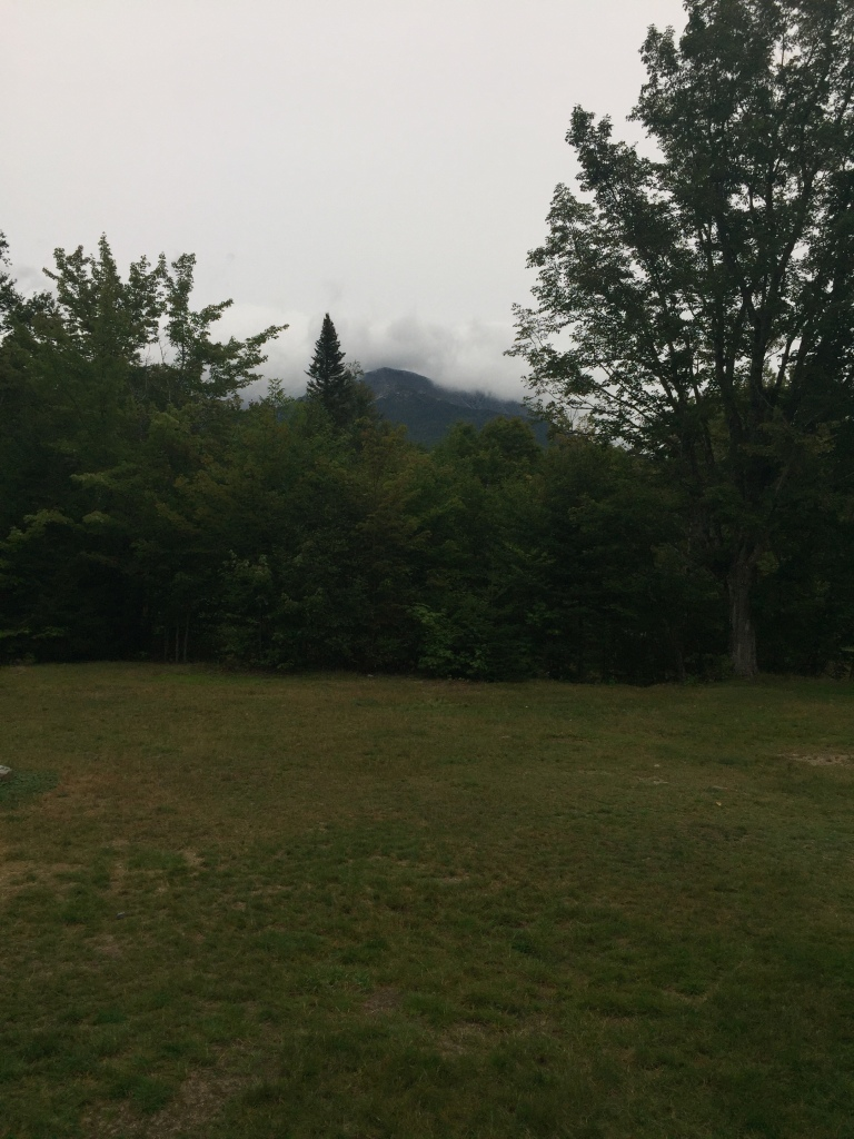 Mount Katahdin, wreathed in clouds, from Katahdin Stream Campground