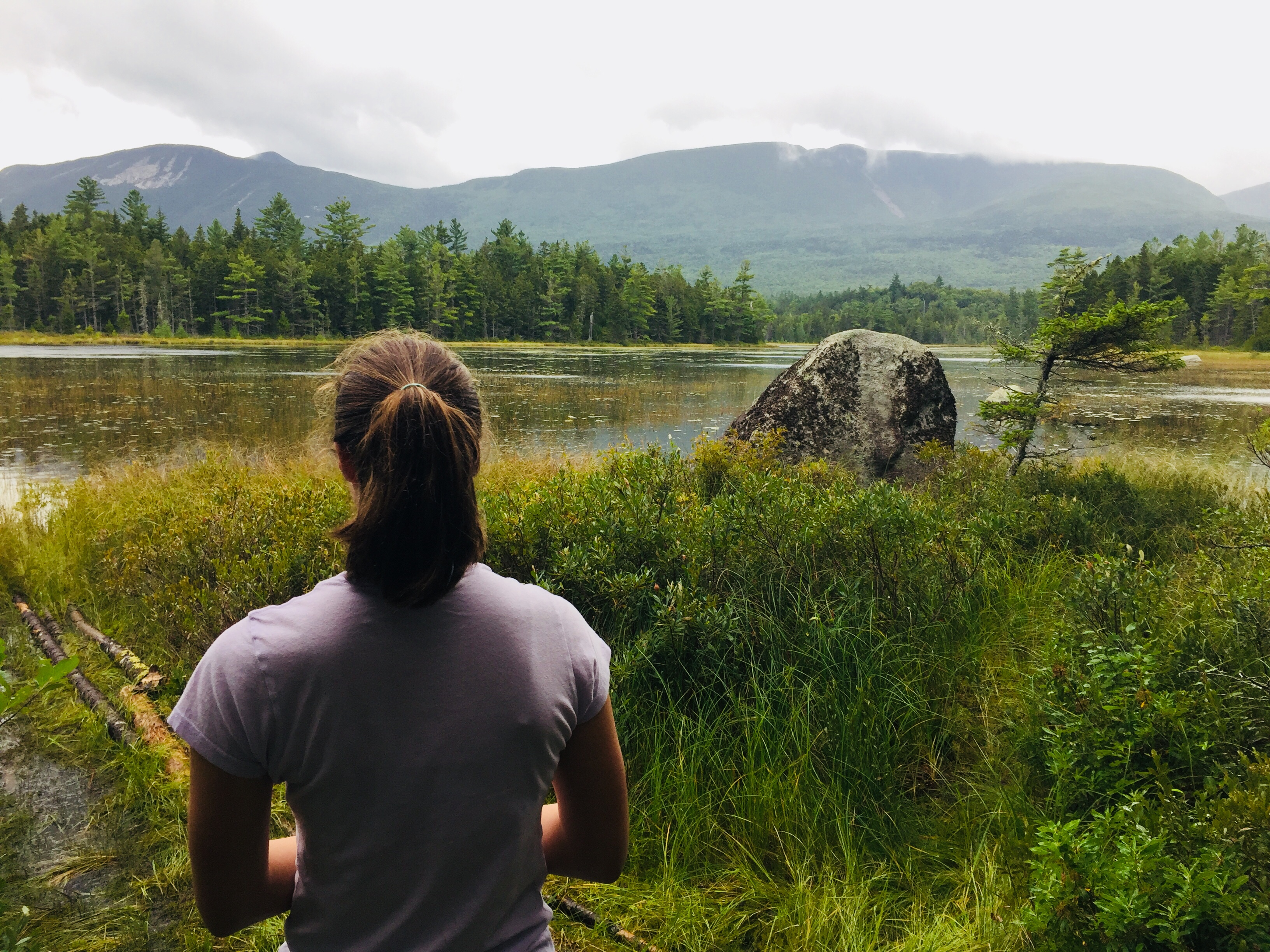 Looking across Elbow Pond to Mt O-J-I and Barren Mountain, Baxter State Park