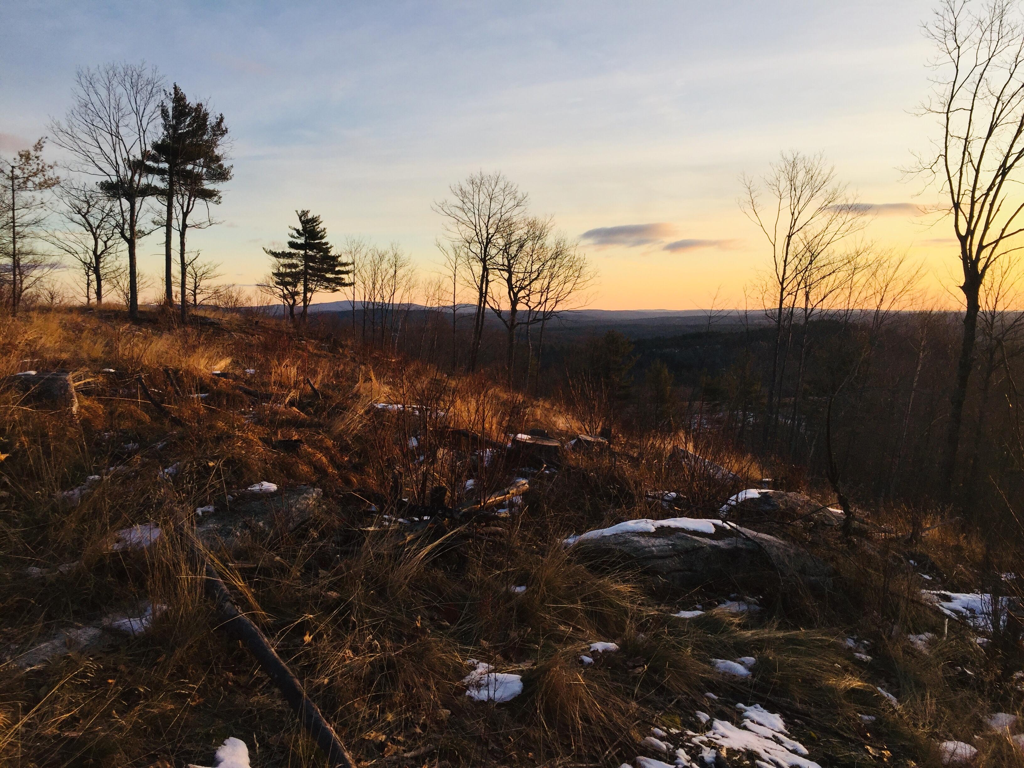 Winter sunrise on Hawk Mountain, Waterford, ME