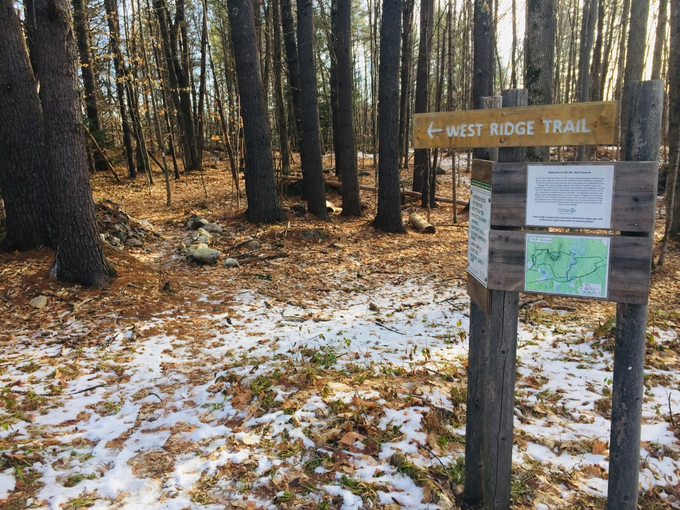 Kiosk and start of West Ridge Trail from Nature Conservancy parking lot, Mount Tom Preserve, Fryeburg, Maine.