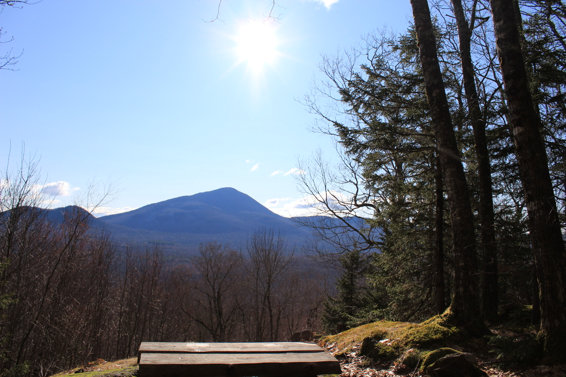 View of Mount Blue's trademark conical summit from Center Hill Nature Trail, Mount Blue State Park, Weld, Maine